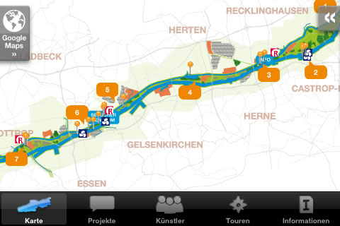 Screenshot aus der iPhone-App Emscherkunst.2010