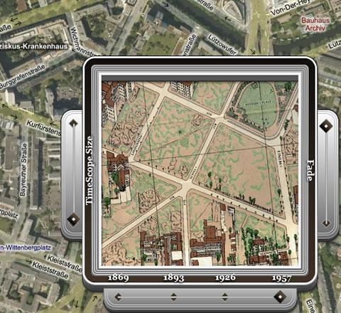 TimeMap Berlin, gezeichnetes Luftbild von 1957