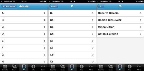 iPhone App MoMA Künstlerverzeichnis