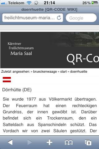 QR-Wiki des Kärntner Freilichtmuseums Maria Saal