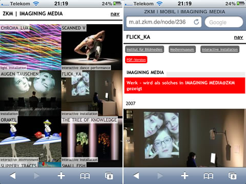 ZKM mobile Seite der Ausstellung Imagining Media @ ZKM