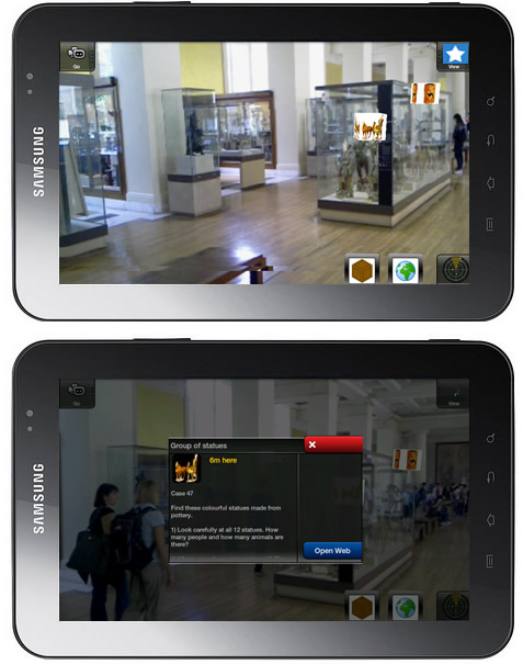 British Museum - Cultures in Contact. Tablets zeigen Informationen zu den Exponaten in Augmented Reality