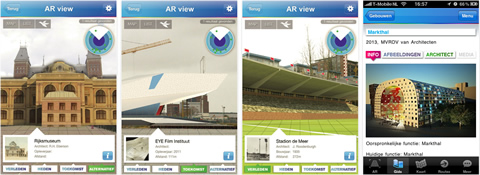 Screenshots von der UAR App des Netherlands Architecture Instituts, Rotterdam