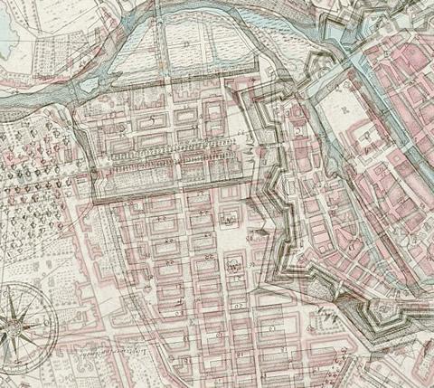 Überblendung zweier historischer Stadtpläne (1723 und 1760)