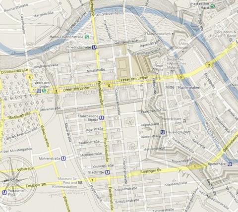 Historischer Stadtplan von 1723 eingeblendet in Google Maps