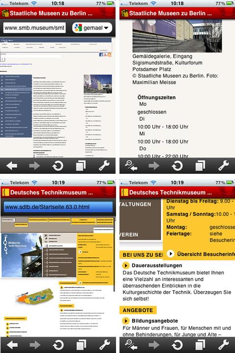Websites der Gemäldegalerie SMB und des Deutschen Technikmuseums im mobilen Browser