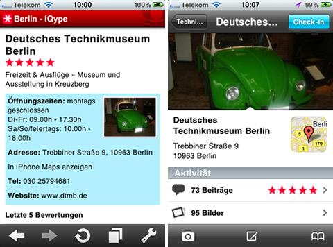 Qype im mobilen Browser und als iPhone App