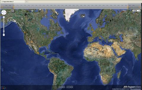 Hypercities Weltkarte mit den Orten, zu denen bereits Material vorliegt