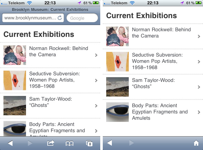 Mobile Website des Brookly Museum und die iPhone-App
