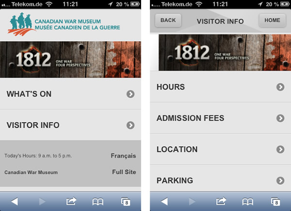 Screenshots von der mobilen Website des Canadian Warmuseum in Ottawa (von einem iPhone)