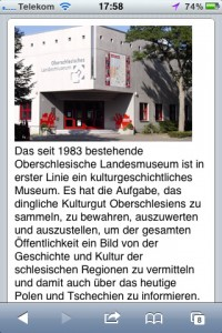 Mobile Website des Oberschlesischen Landesmuseums Ratingen