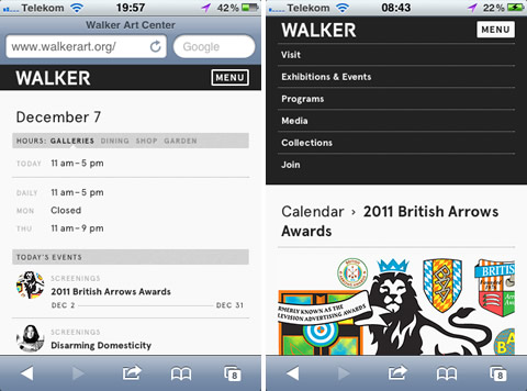Mobile Website des Walker Art Center, Minneapolis - Screenshots