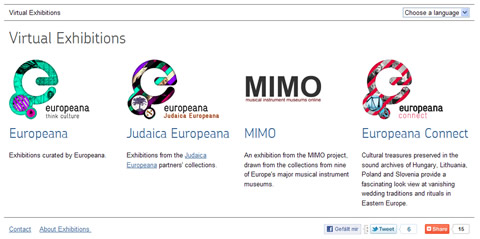"Seite ""Virtual Exhibitions"" der Europeana"