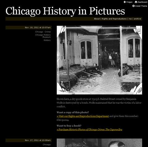 Chicago History Museum - Screenshot des aus dem Fotoblog bei Tumblr