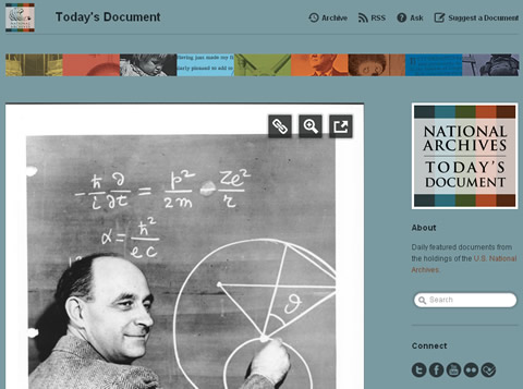 Today's Document - Tumblr Blog der National Archives (Screenshot), gezeigt ist Enrico Fermi, 1950