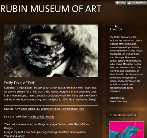 Tumblr Blog des Rubin Museum of Art, New York
