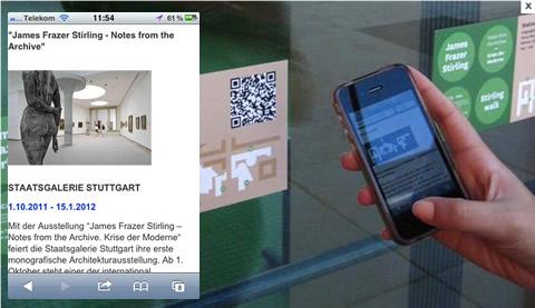 QR Code-Lables der Staatsgalerie Stuttgart, Screenshot der mobilen Internet-Seite