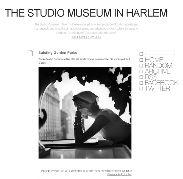 The Studio Museum in Harlem - Screenshot des Tumblr Blogs