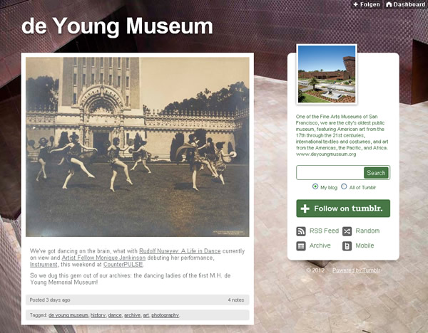 Screenshot vom Tumblr Blog des De Young Museums in San Francisco