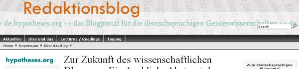 Screenhsot Redaktionsblog von de.hypotheses.org