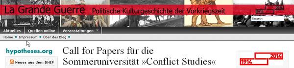Screenhsot Blog zum Jubiläum des Ersten Weltkriegs