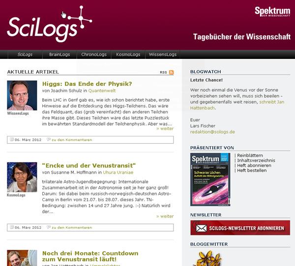 Screenshot SciLogs
