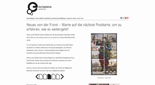 """Europeana Screenshot der Virtuellen Ausstellung """"Nie erzählte Geschichten aus dem Ersten Weltkrieg"""""""