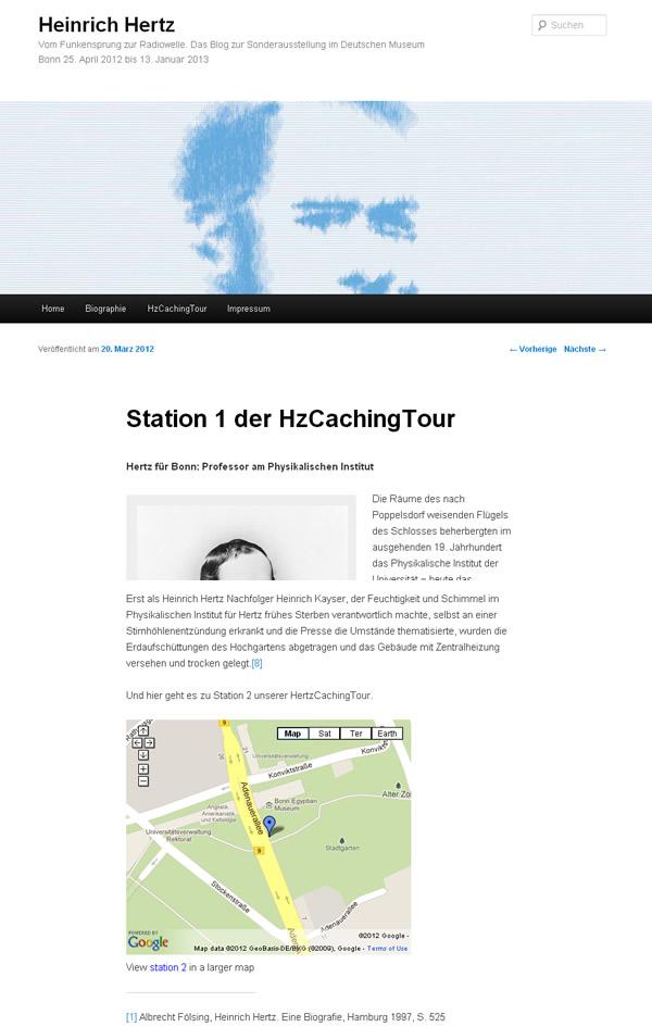 """Screenshot von der mobilen Ausstellungsseite zu """"Heinrich Hertz - vom Funkensprung zur Radiowelle"""" - Station 1"""