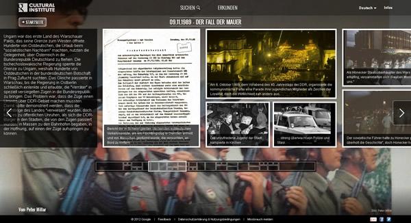 Virtuelle Ausstellung Der Fall der Mauer des Google Cultural Institute