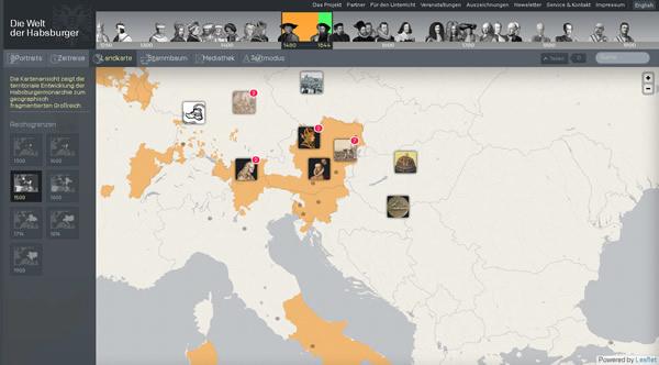 Virtuelle Ausstellung Welt der Habsburger Landkarte